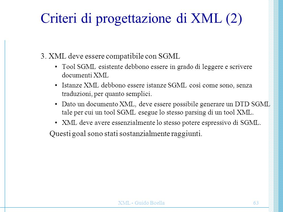 Criteri di progettazione di XML (2)