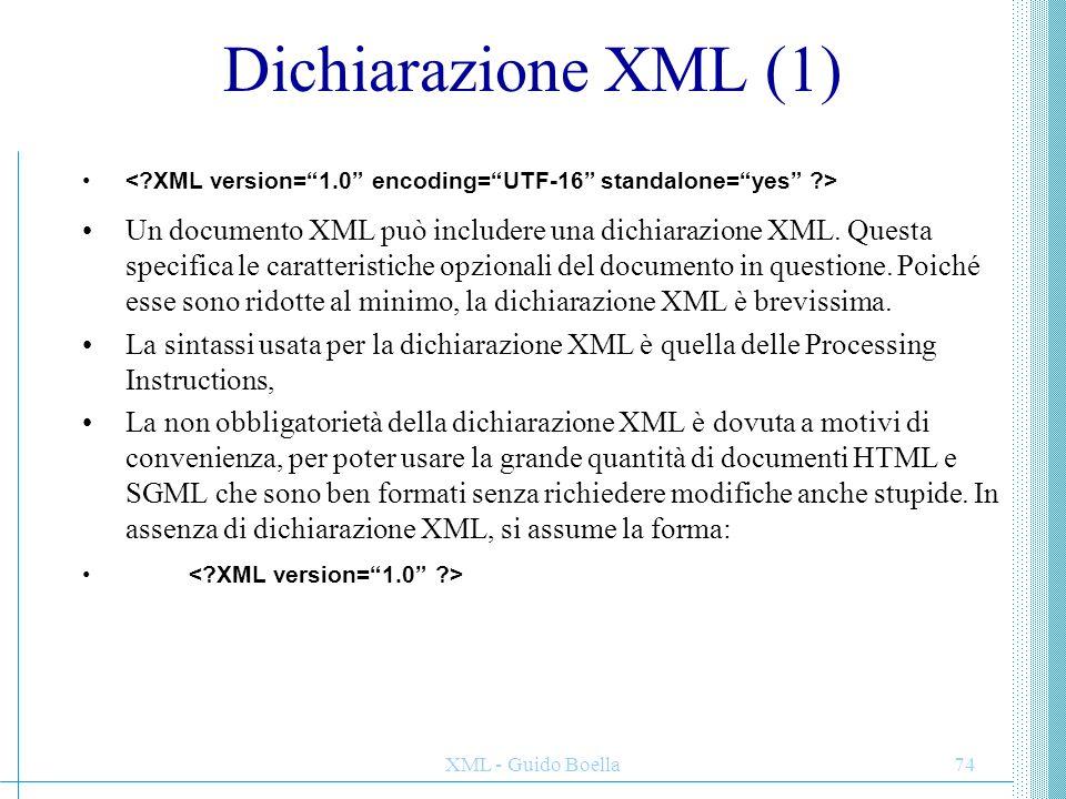 Dichiarazione XML (1) < XML version= 1.0 encoding= UTF-16 standalone= yes >