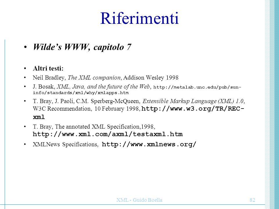 Riferimenti Wilde's WWW, capitolo 7 Altri testi: