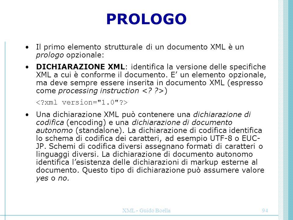 PROLOGO Il primo elemento strutturale di un documento XML è un prologo opzionale: