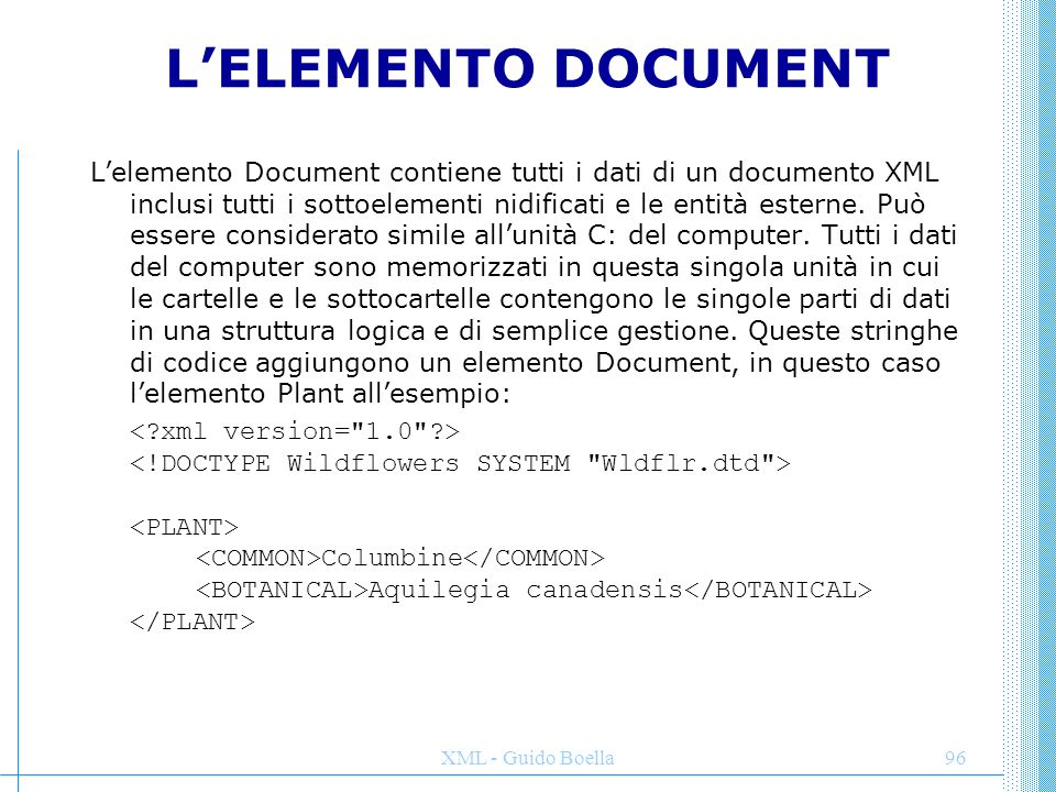 L'ELEMENTO DOCUMENT