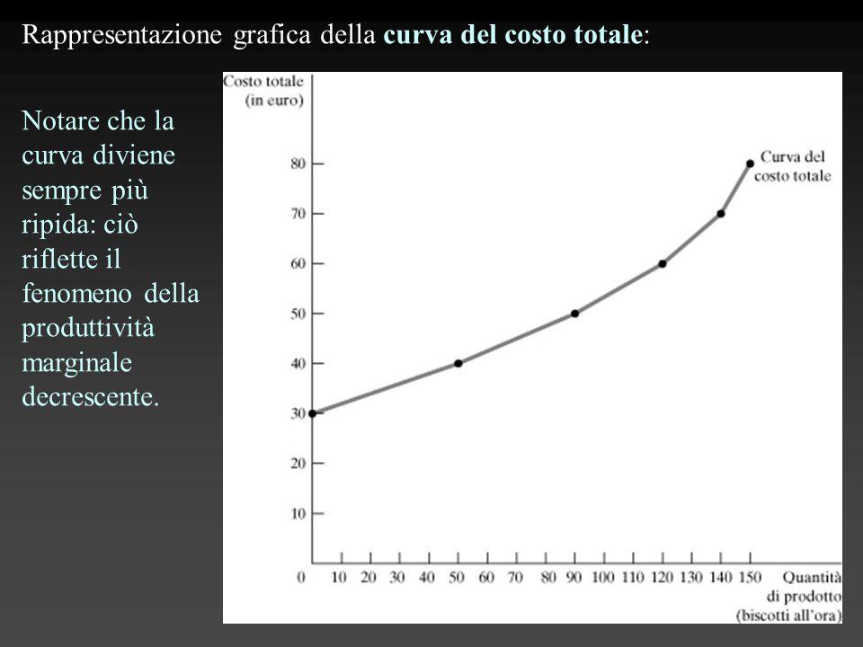 Rappresentazione grafica della curva del costo totale: