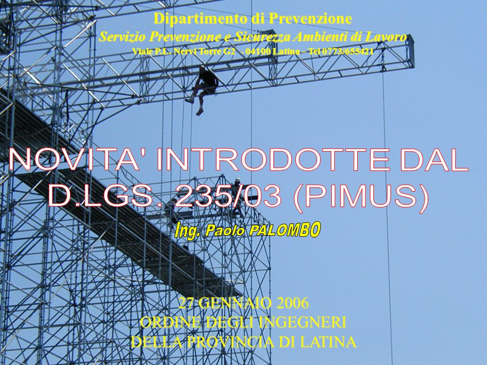 Viale P.L. Nervi Torre G2 - 04100 Latina – Tel 0773/655421