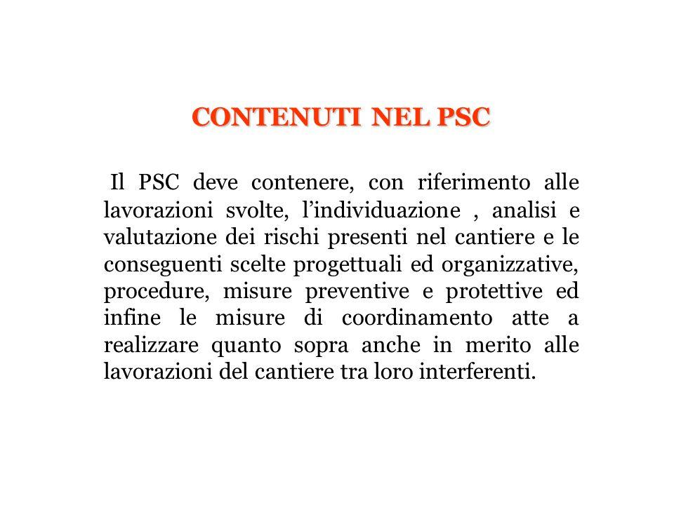 CONTENUTI NEL PSC