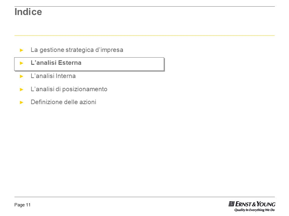 Indice La gestione strategica d'impresa L'analisi Esterna