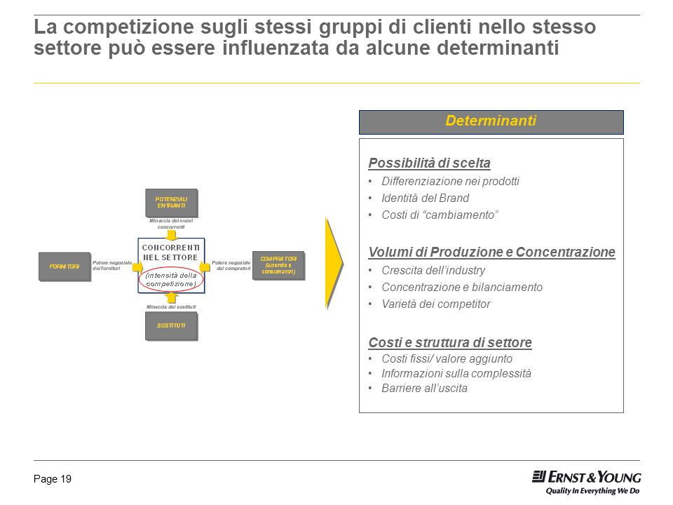 La competizione sugli stessi gruppi di clienti nello stesso settore può essere influenzata da alcune determinanti