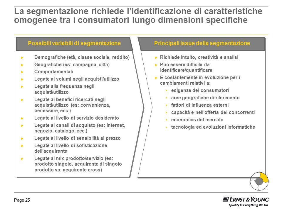 La segmentazione richiede l'identificazione di caratteristiche omogenee tra i consumatori lungo dimensioni specifiche