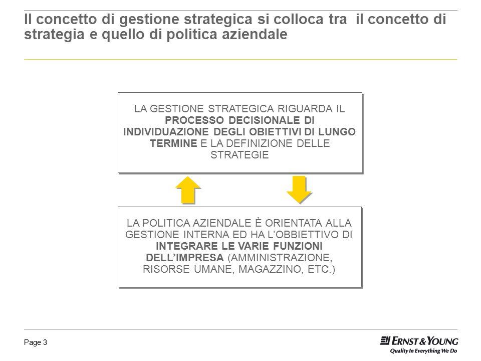 Il concetto di gestione strategica si colloca tra il concetto di strategia e quello di politica aziendale