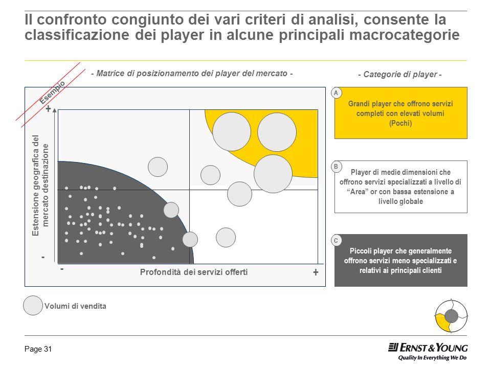 Il confronto congiunto dei vari criteri di analisi, consente la classificazione dei player in alcune principali macrocategorie
