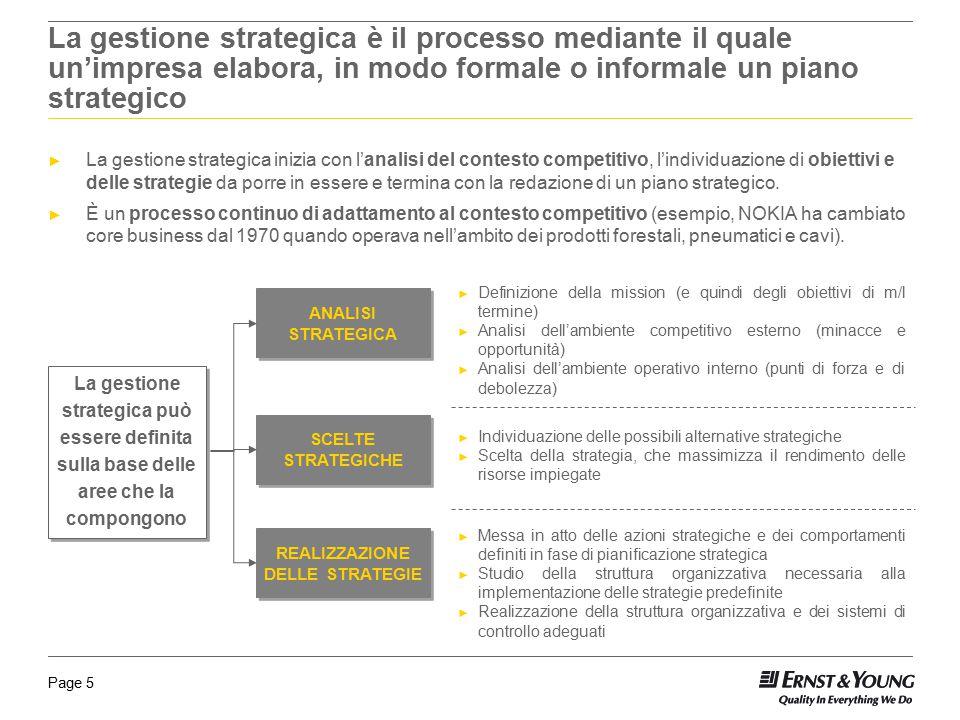 La gestione strategica è il processo mediante il quale un'impresa elabora, in modo formale o informale un piano strategico