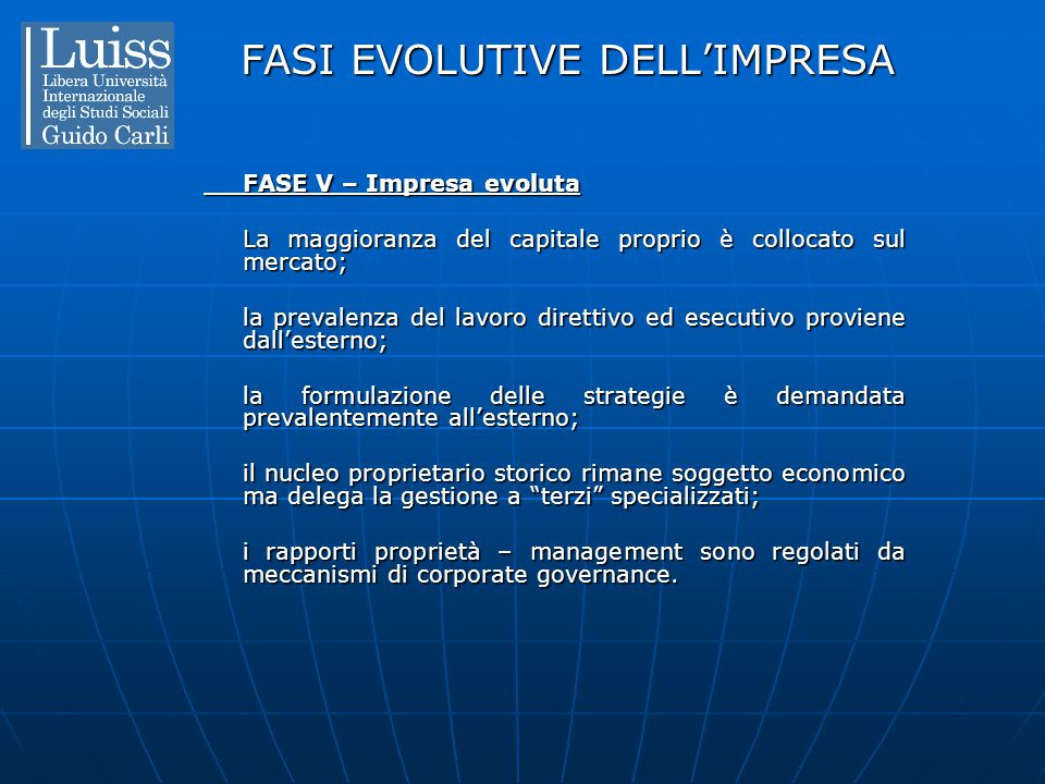 FASI EVOLUTIVE DELL'IMPRESA