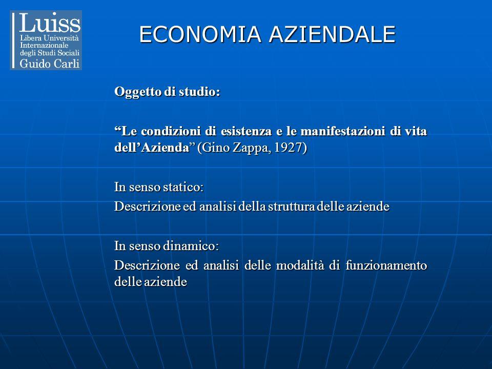 ECONOMIA AZIENDALE Oggetto di studio: