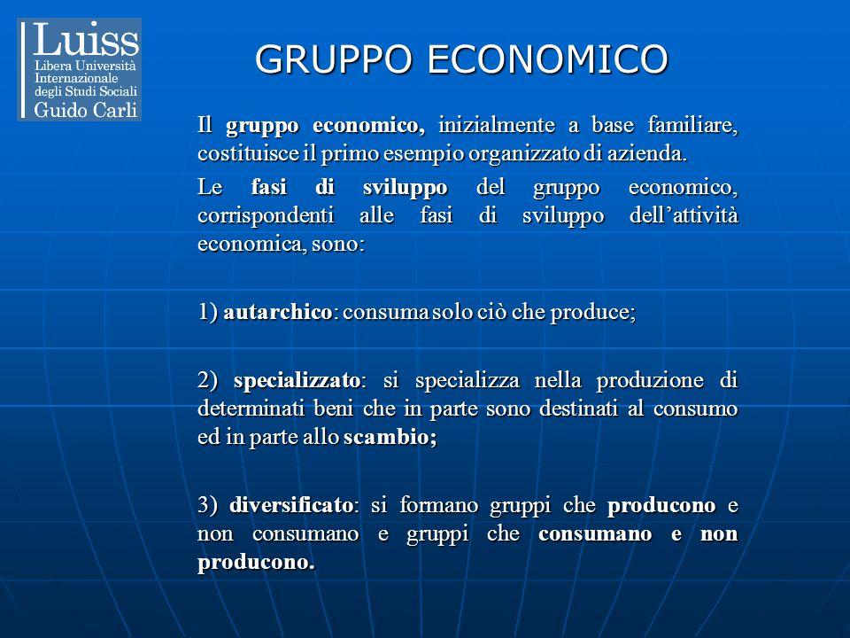 GRUPPO ECONOMICO Il gruppo economico, inizialmente a base familiare, costituisce il primo esempio organizzato di azienda.