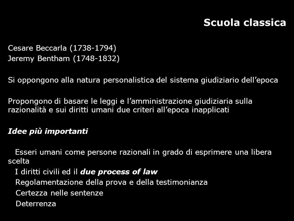 Scuola classica Cesare Beccarla (1738-1794) Jeremy Bentham (1748-1832)