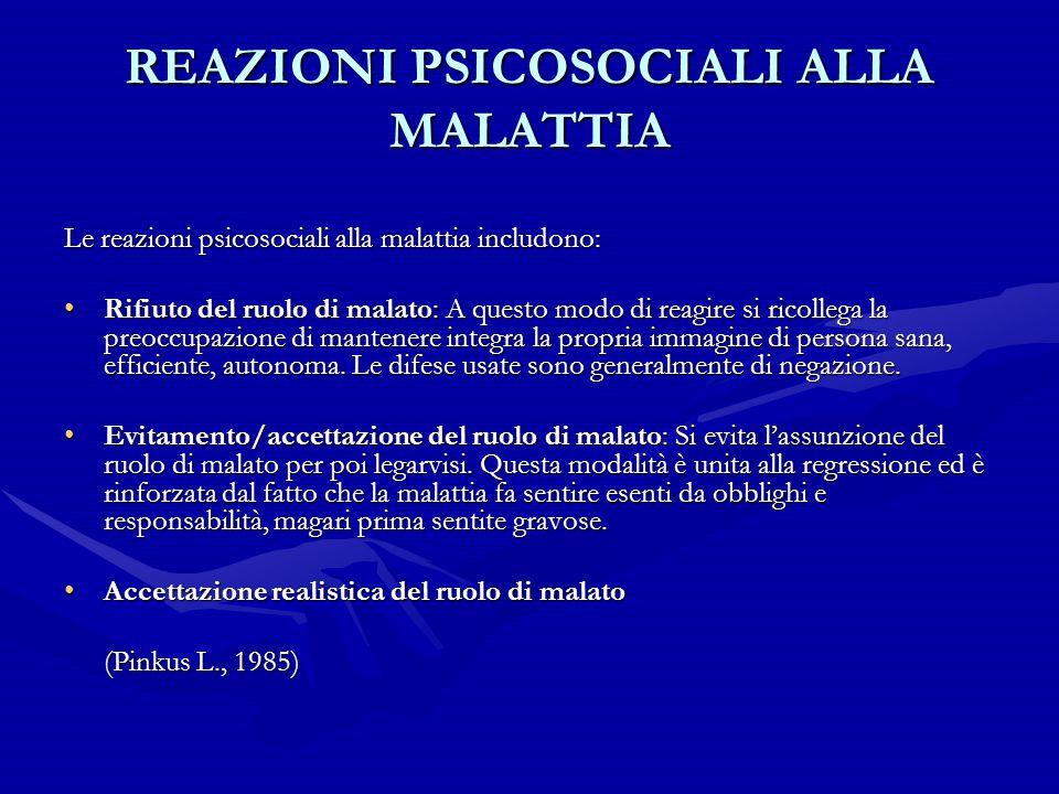 REAZIONI PSICOSOCIALI ALLA MALATTIA