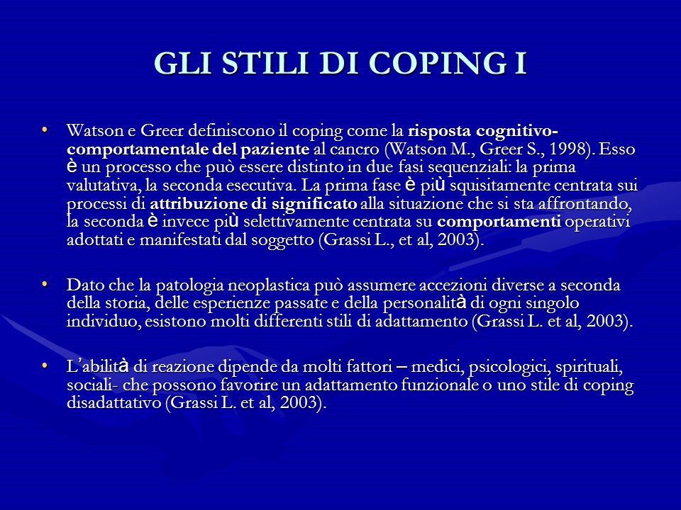 GLI STILI DI COPING I
