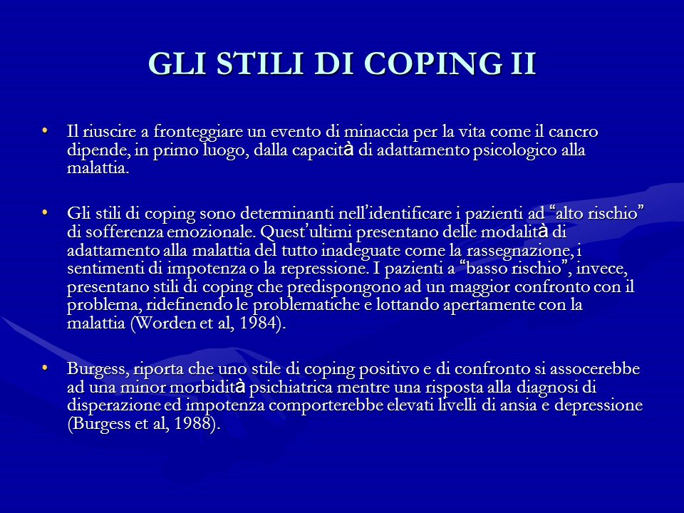GLI STILI DI COPING II
