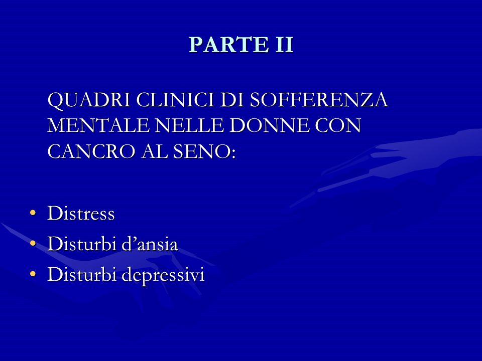 PARTE II QUADRI CLINICI DI SOFFERENZA MENTALE NELLE DONNE CON CANCRO AL SENO: Distress. Disturbi d'ansia.