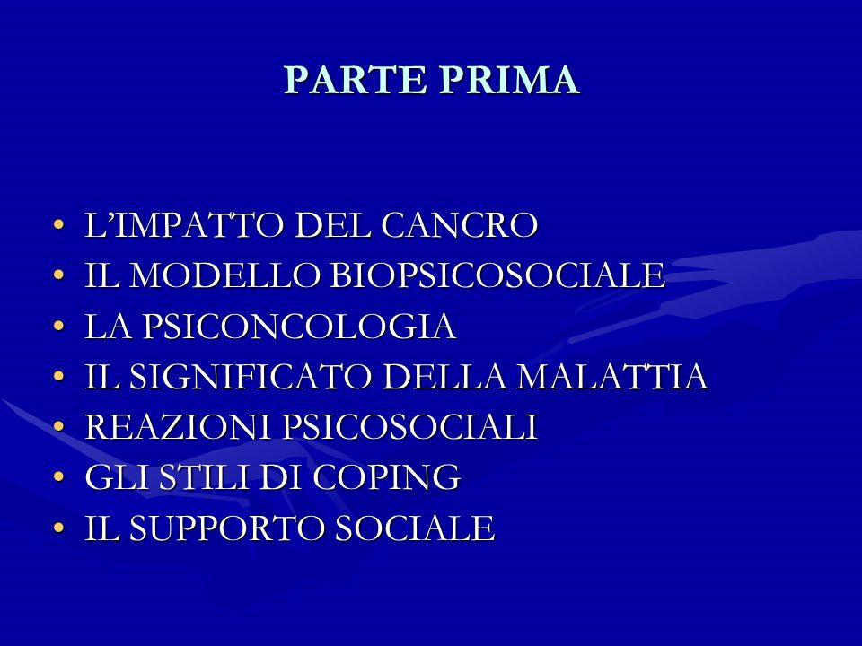 PARTE PRIMA L'IMPATTO DEL CANCRO IL MODELLO BIOPSICOSOCIALE