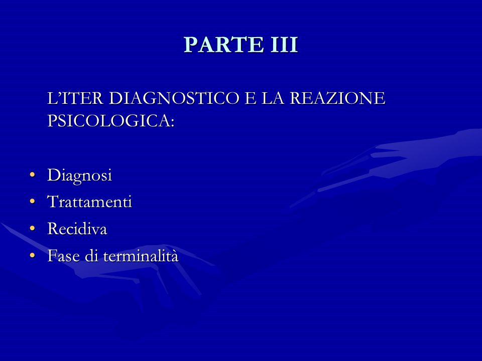 PARTE III L'ITER DIAGNOSTICO E LA REAZIONE PSICOLOGICA: Diagnosi
