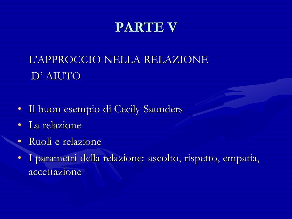 PARTE V D' AIUTO Il buon esempio di Cecily Saunders La relazione