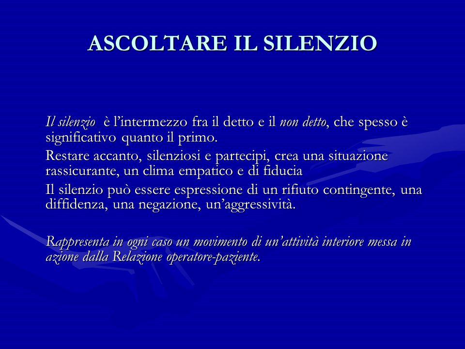 ASCOLTARE IL SILENZIO Il silenzio è l'intermezzo fra il detto e il non detto, che spesso è significativo quanto il primo.