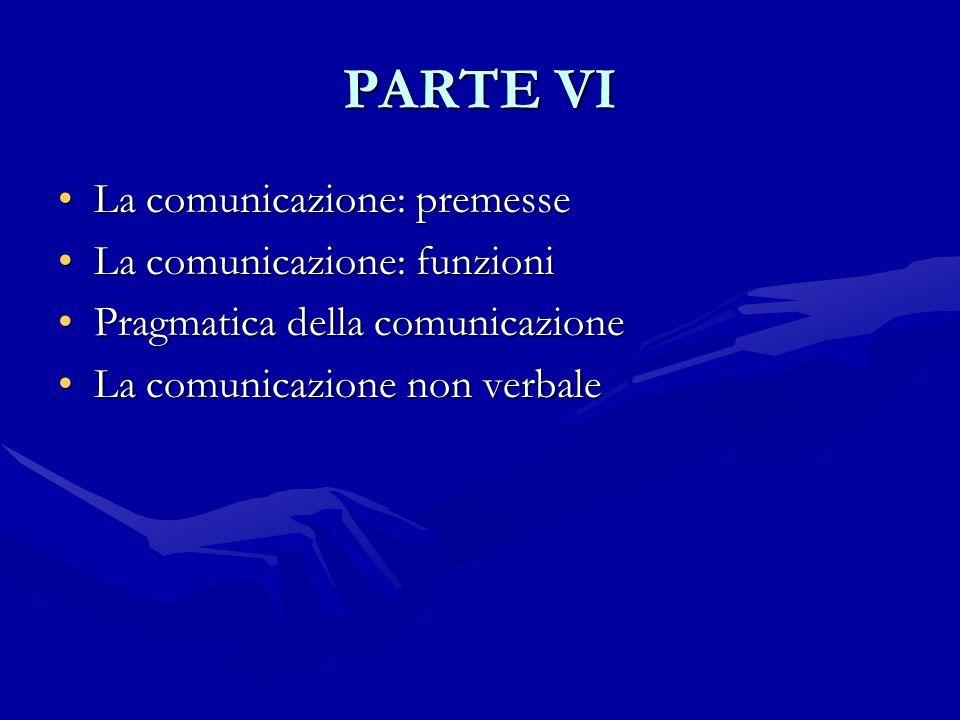PARTE VI La comunicazione: premesse La comunicazione: funzioni
