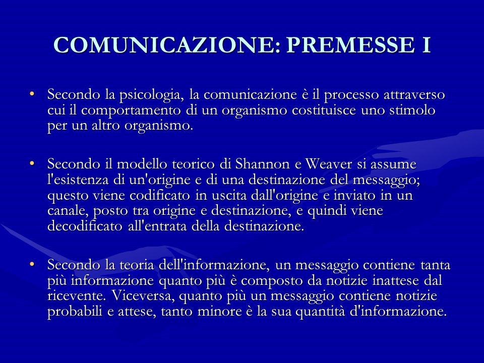 COMUNICAZIONE: PREMESSE I