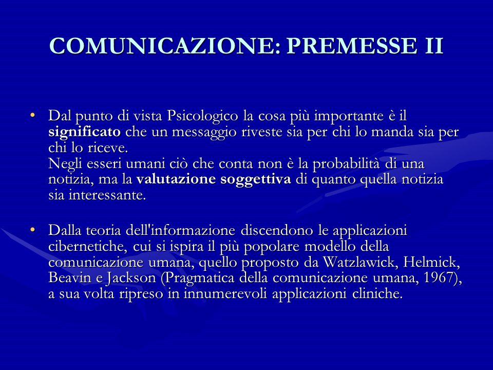 COMUNICAZIONE: PREMESSE II