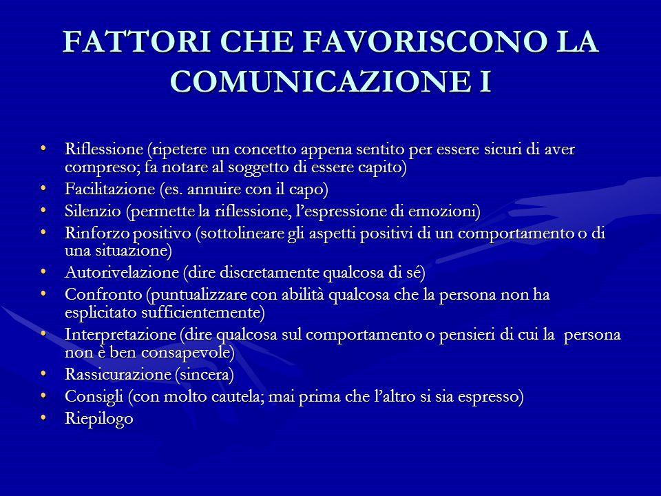 FATTORI CHE FAVORISCONO LA COMUNICAZIONE I