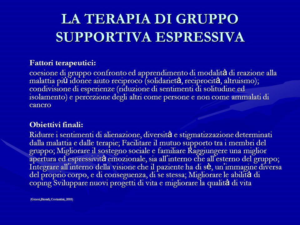 LA TERAPIA DI GRUPPO SUPPORTIVA ESPRESSIVA