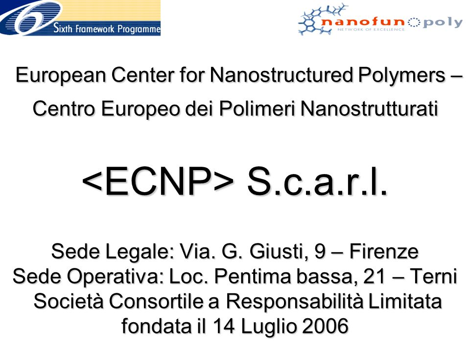 European Center for Nanostructured Polymers – Centro Europeo dei Polimeri Nanostrutturati <ECNP> S.c.a.r.l.
