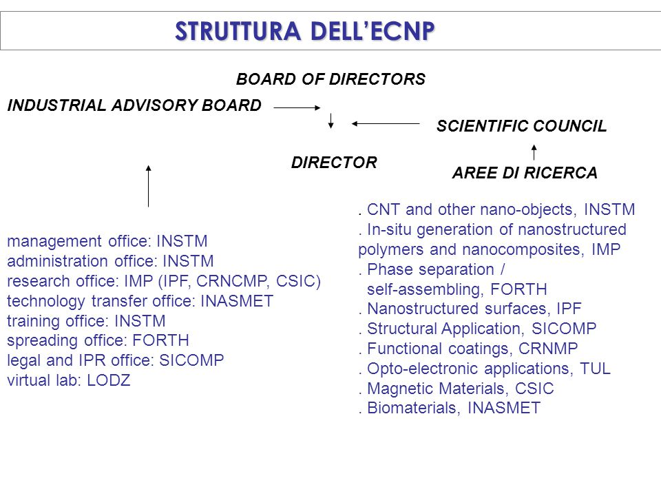 STRUTTURA DELL'ECNP BOARD OF DIRECTORS INDUSTRIAL ADVISORY BOARD