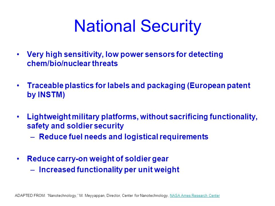 National Security Very high sensitivity, low power sensors for detecting chem/bio/nuclear threats.