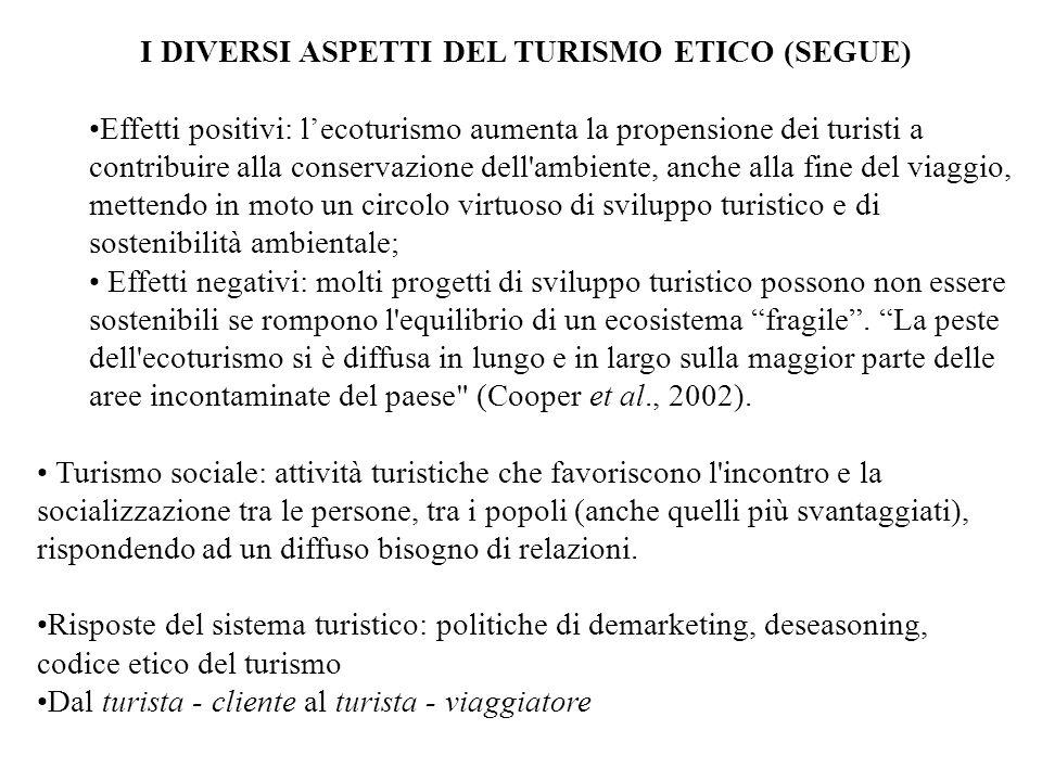 I DIVERSI ASPETTI DEL TURISMO ETICO (SEGUE)