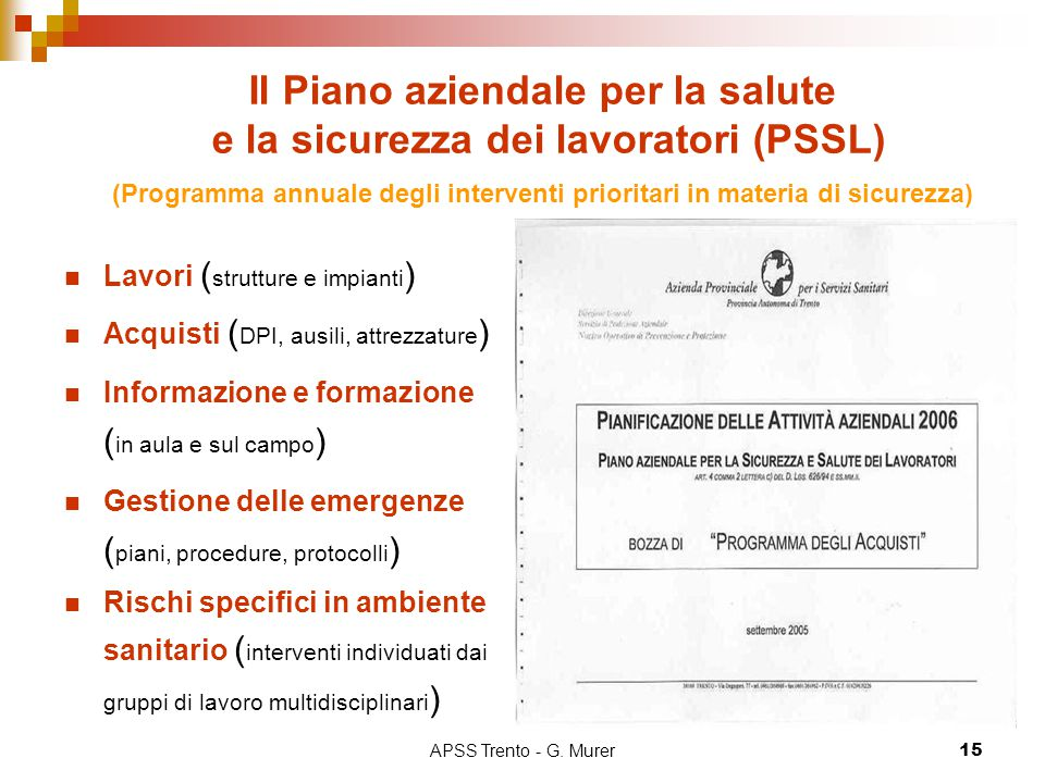 Il Piano aziendale per la salute e la sicurezza dei lavoratori (PSSL) (Programma annuale degli interventi prioritari in materia di sicurezza)