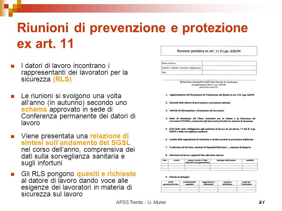 Riunioni di prevenzione e protezione ex art. 11
