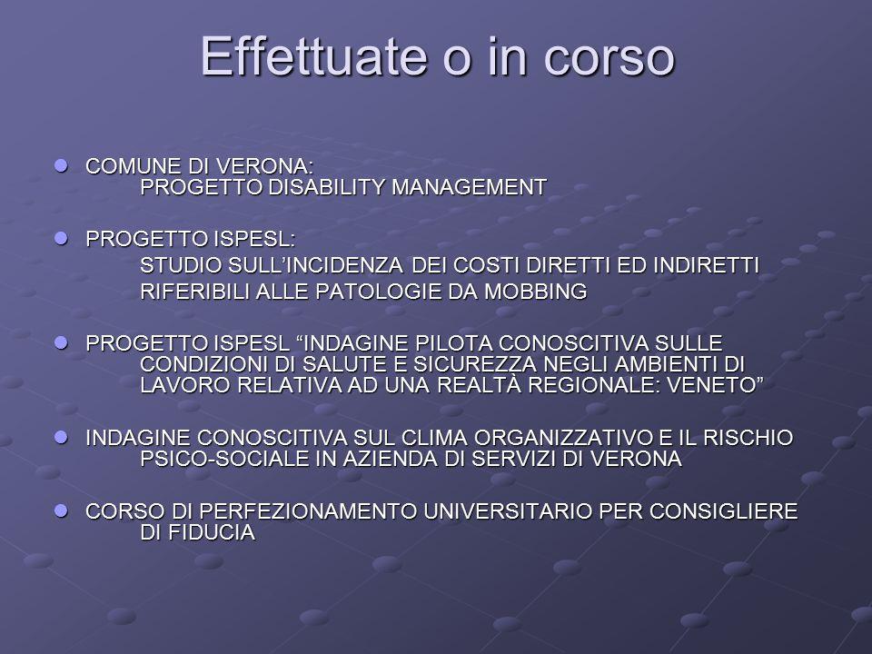 Effettuate o in corso COMUNE DI VERONA: PROGETTO DISABILITY MANAGEMENT