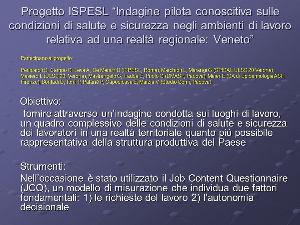 Progetto ISPESL Indagine pilota conoscitiva sulle condizioni di salute e sicurezza negli ambienti di lavoro relativa ad una realtà regionale: Veneto