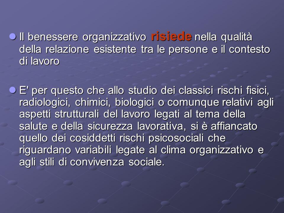 Il benessere organizzativo risiede nella qualità della relazione esistente tra le persone e il contesto di lavoro