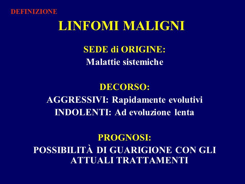 LINFOMI MALIGNI SEDE di ORIGINE: Malattie sistemiche DECORSO: