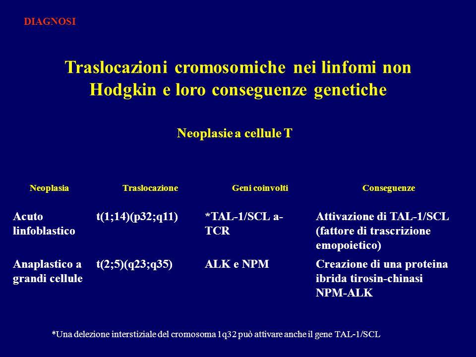 DIAGNOSI Traslocazioni cromosomiche nei linfomi non Hodgkin e loro conseguenze genetiche. Neoplasie a cellule T.