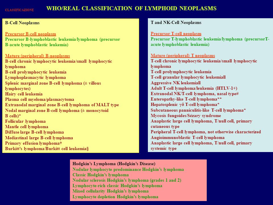 WHO/REAL CLASSIFICATION OF LYMPHOID NEOPLASMS