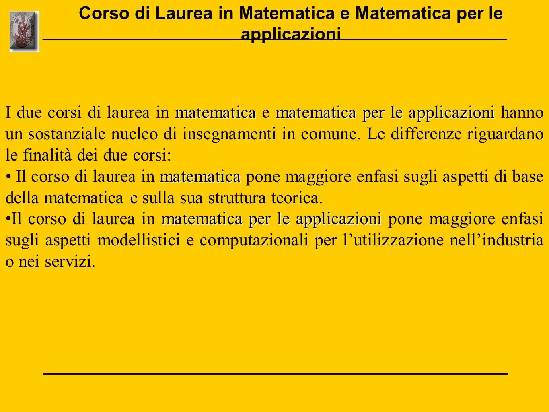 Corso di Laurea in Matematica e Matematica per le applicazioni