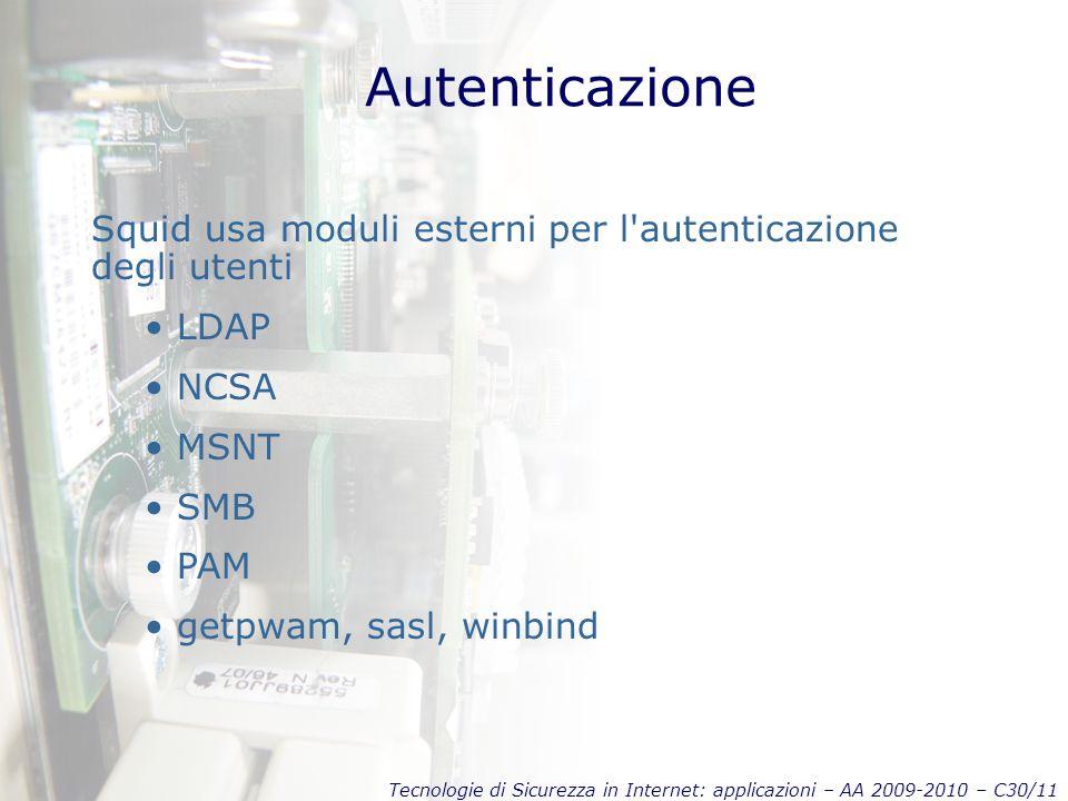 Autenticazione Squid usa moduli esterni per l autenticazione degli utenti. LDAP. NCSA. MSNT. SMB.