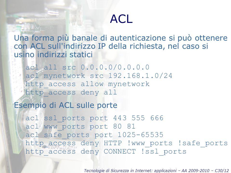 ACL Una forma più banale di autenticazione si può ottenere con ACL sull indirizzo IP della richiesta, nel caso si usino indirizzi statici.