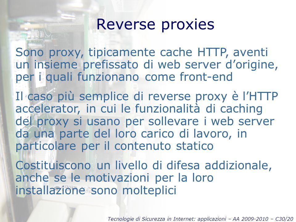 Reverse proxies Sono proxy, tipicamente cache HTTP, aventi un insieme prefissato di web server d'origine, per i quali funzionano come front-end.