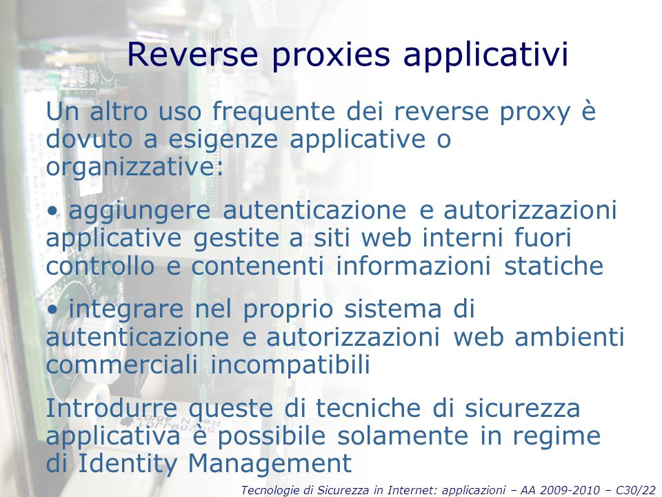 Reverse proxies applicativi