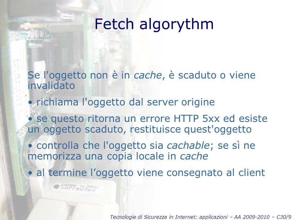Fetch algorythm Se l oggetto non è in cache, è scaduto o viene invalidato. richiama l oggetto dal server origine.