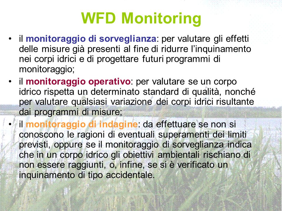 WFD Monitoring